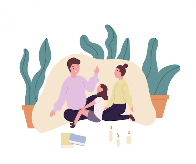 사랑하는 가족. 어머니, 아버지와 딸 담요 요새에 앉아 이야기 또는 동화 이야기. 집에서 함께 시간을 보내는 귀여운 부모와 자식. 플랫 만화 일러스트 레이 션.