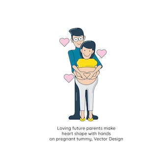 Loving future parents make heart shape with hands