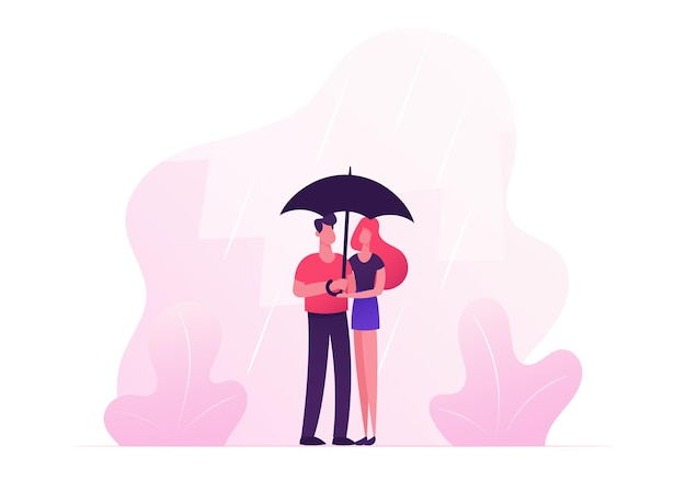 Loving happy couple hugging, holding hands and walking under umbrella in rainy autumn weather