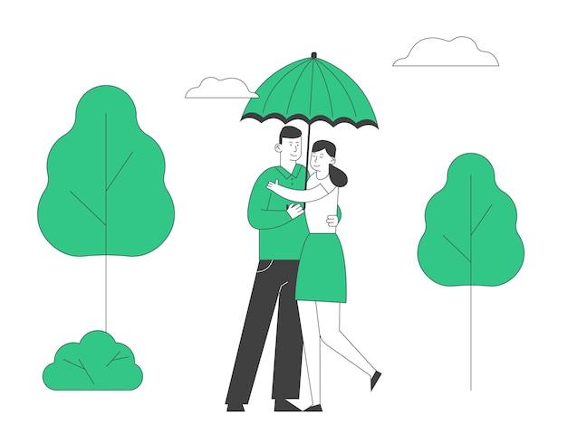 Влюбленная пара счастлива, обниматься в парке