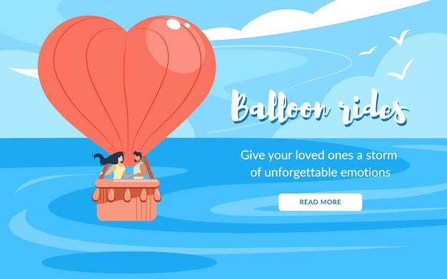 Loving happy couple stand in basket, rides air balloon flying in cloudy sky