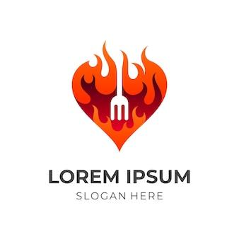 熱く、火と愛を愛し、3dカラフルなスタイルの組み合わせロゴ