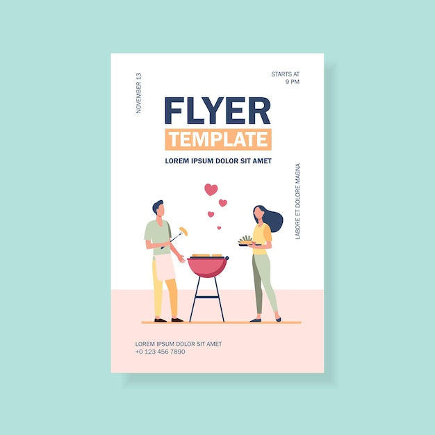 Loving man and woman doing backyard barbecue flyer template