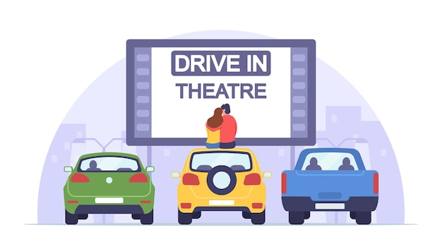 Loving man and woman sit on auto roof watch movie in drive-in theater