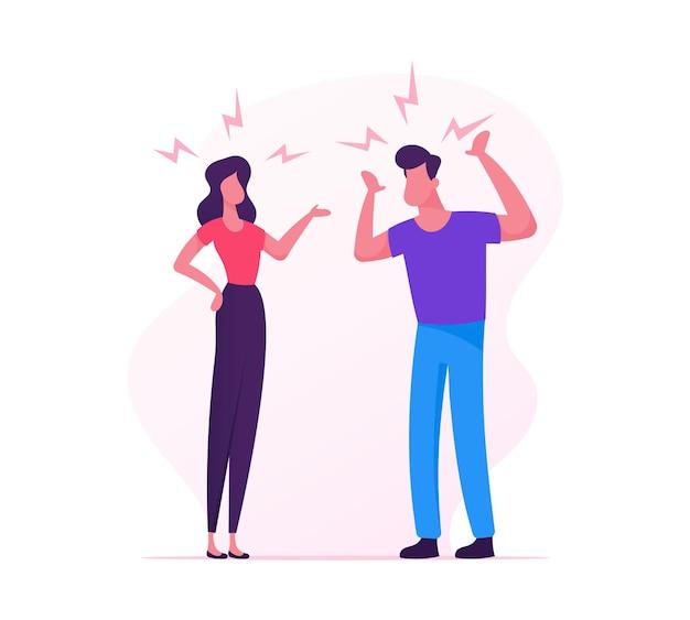사랑하는 부부 싸움. 남자와 여자가 물건을 분류하고, 싸우고 있습니다. 만화 평면 그림