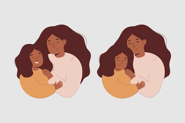 Loving mother hugs daughter