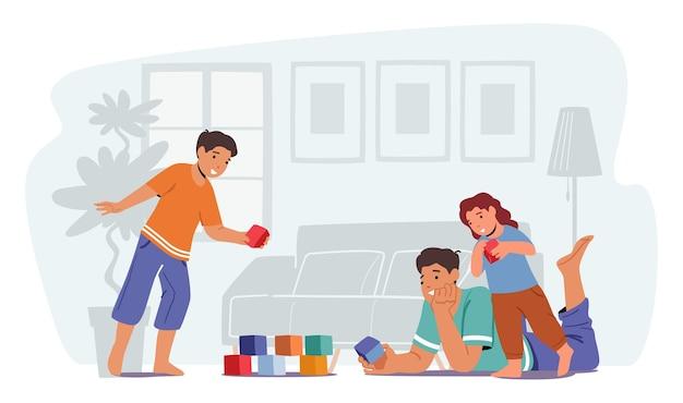 아이들과 노는 사랑스러운 부모. 남자와 작은 소년과 소녀 게임 재미. 주말 여가 시간을 보내는 행복한 가족