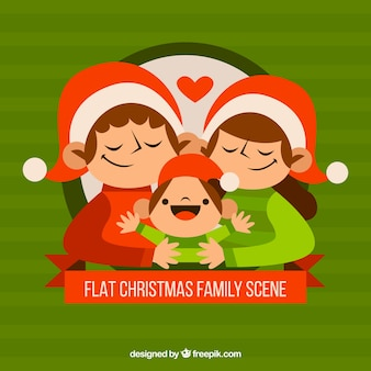Любящие родители и ребенок на рождество