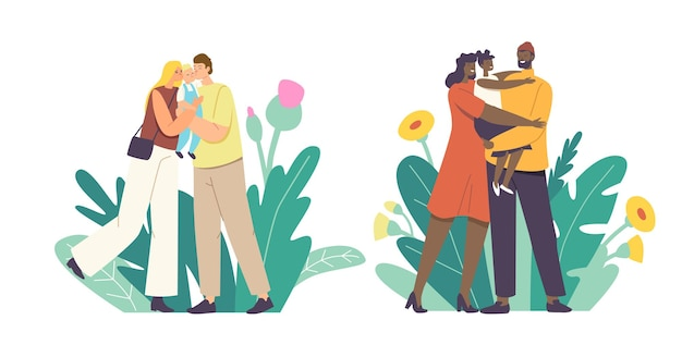 Любящие родители целуют ребенка. мать и отец персонажи кавказской и африканской национальности, держащие ребенка на руках, обнимаются и целуются, выражают любовь и нежность. мультфильм люди векторные иллюстрации