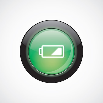 Low battery glass sign icon green shiny button. ui website button
