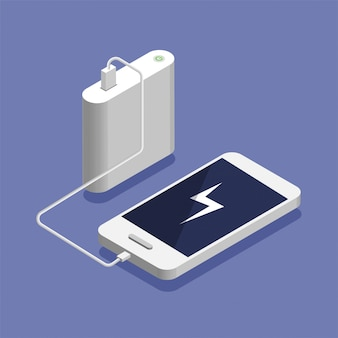 Low battery. isometric smartphone charging with external power bank. database storage device concept, illustration.