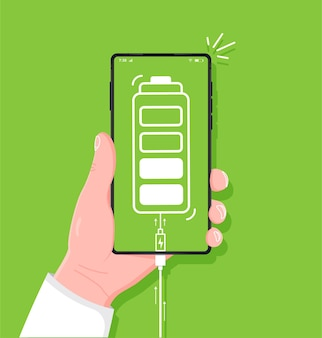 녹색 배경 스마트폰에 휴대 전화 배터리 아이콘의 낮은 배터리 수명