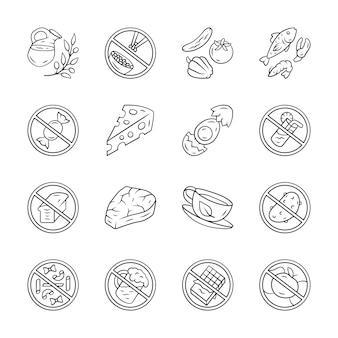 Набор иконок с низким содержанием углеводов и продуктов с высоким содержанием белка