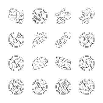 Low carbs and high protein products icons set