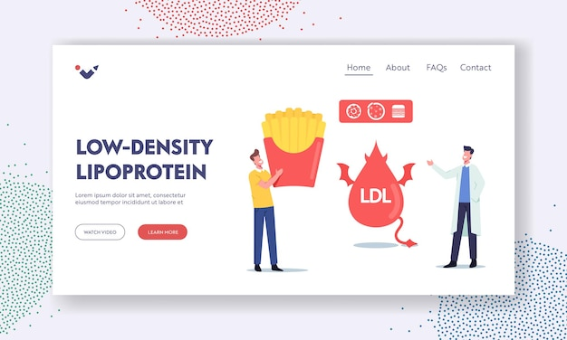 Low density lipoprotein landing page template. doctor character explain danger of bad cholesterol to tiny patient with huge fast food box. ldl devil fat drop. cartoon people vector illustration