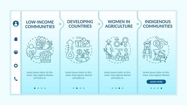 低所得コミュニティのオンボーディングテンプレート。アイコン付きのレスポンシブモバイルウェブサイト。農業の女性。開発途上国。 webページのウォークスルー4ステップ画面。