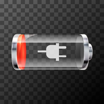 Low level bright glossy battery icon with charging symbol