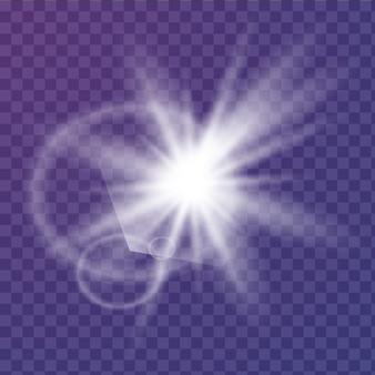 낮은 조명 효과. 반짝임으로 스타 버스트. 삽화. 흰색 빛나는 빛. 반짝이는 마법의 먼지 입자. 밝은 별. 투명한 빛나는 태양