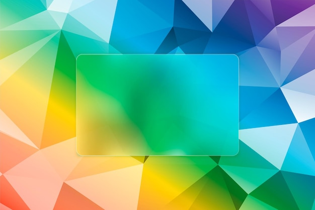 Low poly abstract multicolor vector background with plate for text - glass morphism or frosted glass effect.