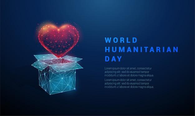 Низкополигональная абстрактная открытая коробка и сердце