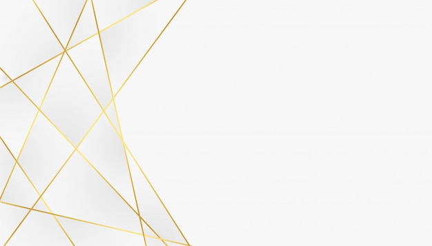 Low poly abstract white and golden lines background