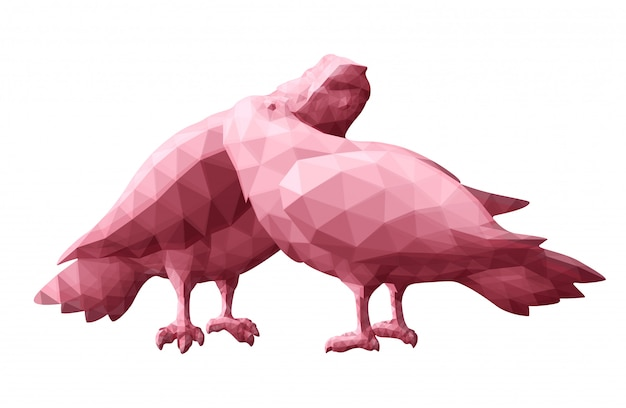 Low poly art with pink pigeons silhouettes