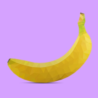 Low poly banana on a purple background Premium Vector