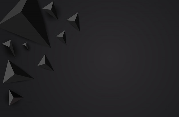 Low poly black polygonal shapes background