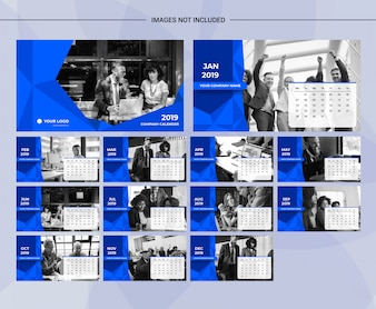 Low poly blue corporate multipurpose desk calender