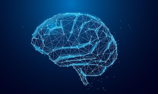 낮은 폴리 뇌 또는 인공 지능 개념 지혜 포인트의 상징