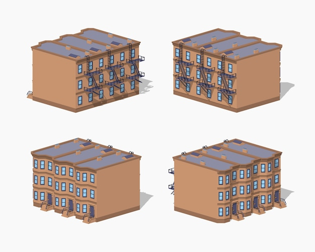 Low poly brownstone town house