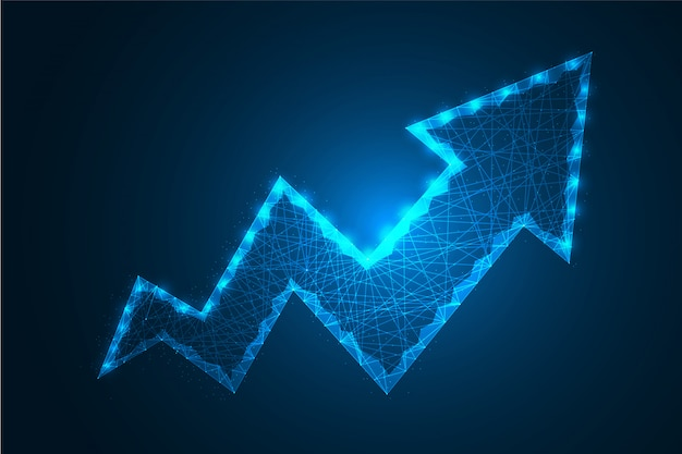 Low poly business growth arrow dot and line with polygonal wire frame mesh   illustration