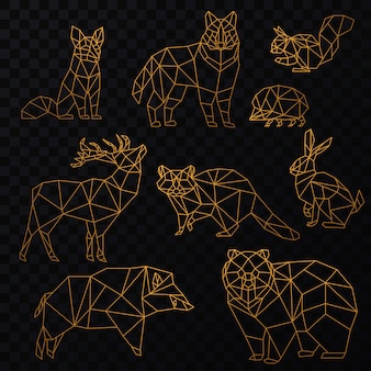 Low poly cgolden line animals set. wolf, bear, deer, wild boar, fox, raccoon, rabbit and hedgehog