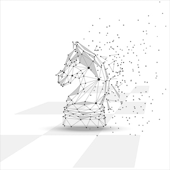 Low poly chess horse figure