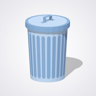 Low poly closed trash can