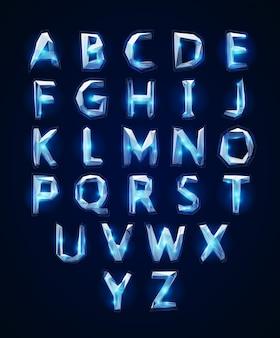 Низкий поли кристальный алфавит шрифт.