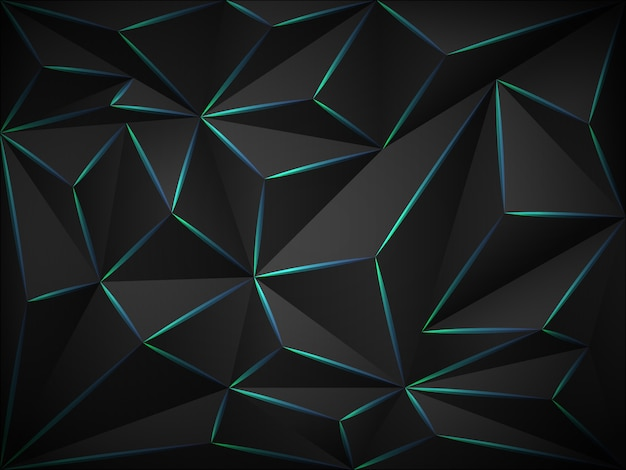 Low poly dark 3d background with blue neon  lines .