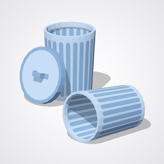 Low poly empty trash can