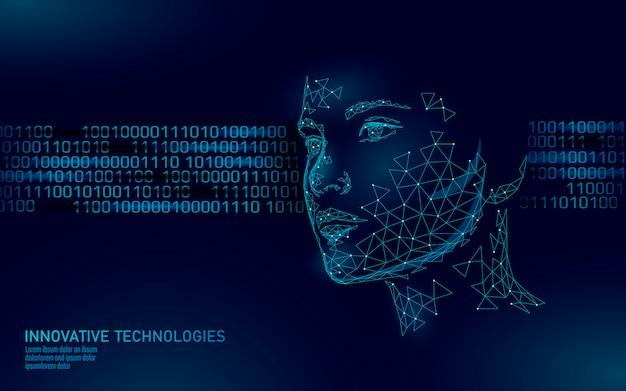 낮은 폴리 여성 인간의 얼굴 생체 인식. 인식 시스템 개념. 개인 데이터 보안 액세스 스캐닝 혁신 기술. 3d 다각형 렌더링 그림