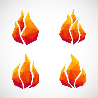 Low poly fire icons.
