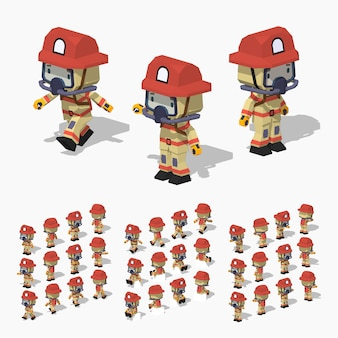 Low poly firefighter