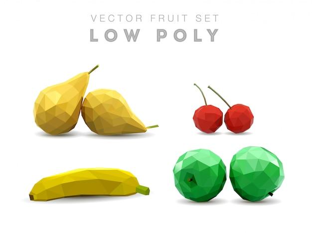 Низкополигональные фрукты. многоугольный фруктовый набор