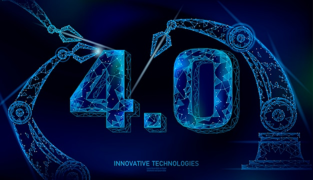 Low poly future industrial revolution concept. industry 4.0 number assembled by robotic arm. online technology industry management. 3d polygonal innovation system   illustration
