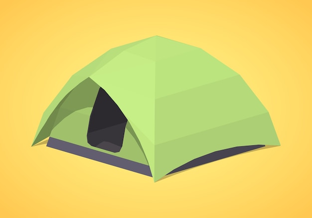 Low poly green camping tent