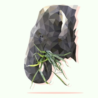 Low poly the head of elephant chewing grass