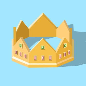 Low poly isometric golden crown with diamonds without transparency or gradients.
