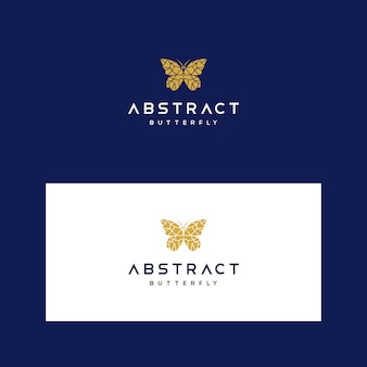 Low poly logo template with geometric butterfly