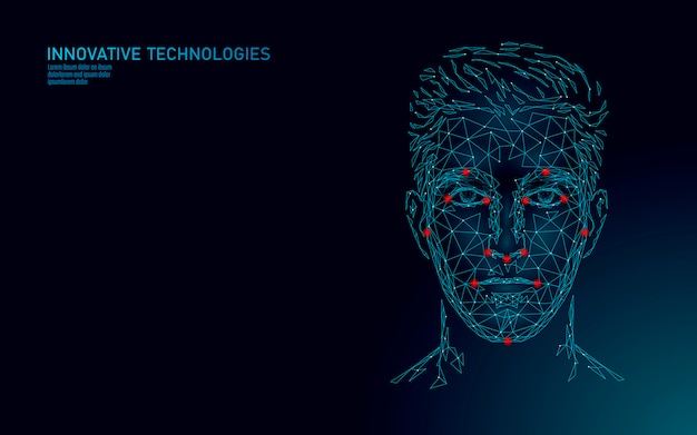 Low poly male human face biometric identification. recognition system concept. personal data secure access scanning innovation technology. 3d polygonal rendering illustration