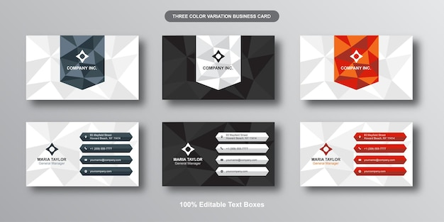Low poly modern editable business card