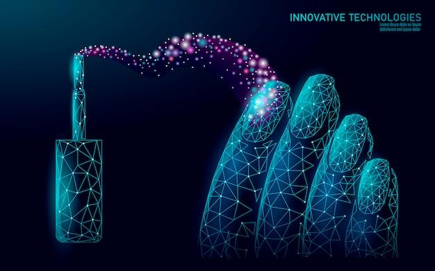 Низкополигональная современная технология ухода за ногтями. инновационный спа-салон